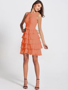 Pin to Win a Wedding Gown or 5 Bridesmaid Dresses! Simply pin your favorite dresses on www.forherandforhim.com to join the contest! | Ruffled Peep Neck Dress $149.99