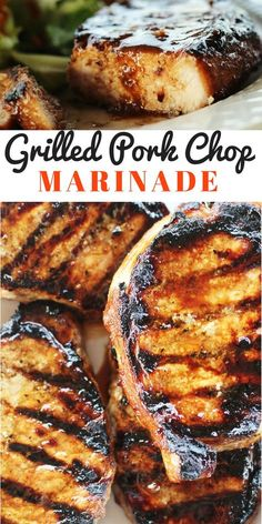 You are going to love our easy recipe for this Grilled Pork Chop Marinade. This marinade flavors every single bite of juicy, grilled pork. A little smoky, a little sweet, and a lot delicious, this is an all-around great marinade you will want to use again Easy Pork Chop Recipes, Pork Recipes, Cooking Recipes, Grilled Recipes, Pork Marinade Recipes, Grilled Porkchops Recipes, Recipes Using Pork Chops, Juicy Pork Chops, Clean Eating Snacks