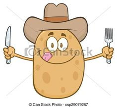 Vector - Cowboy Potato Cartoon Character - stock illustration, royalty free illustrations, stock clip art icon, stock clipart icons, logo, line art, EPS picture, pictures, graphic, graphics, drawing, drawings, vector image, artwork, EPS vector art