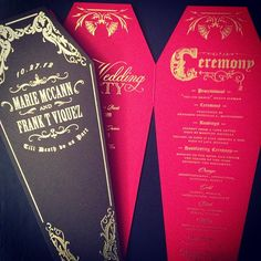 Halloween coffin inspired wedding programs