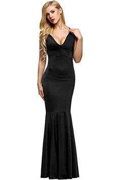 9f50454d77 ANGVNS Women's Deep V Neck Backless Maxi Bodycon Formal Prom Dress Gown  Black L   Ikuzo Clothing
