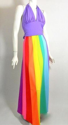 DeWeese jersey knit poly beach set of violet halter and rainbow paneled elastic waist maxi skirt. 1970s
