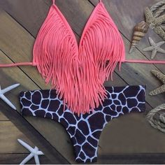 Sexy Halter Sleeveless Fringed Leopard Print Women's Bikini Set Swimwear | RoseGal.com Mobile