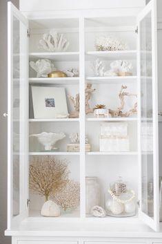 Boho Coastal Decor Coastal Bookcase Styling by Iris Nacole Beach Cottage Style, Coastal Cottage, Coastal Homes, Beach House Decor, Coastal Style, Coastal Decor, Beach Houses, Modern Beach Decor, Beach Cottages