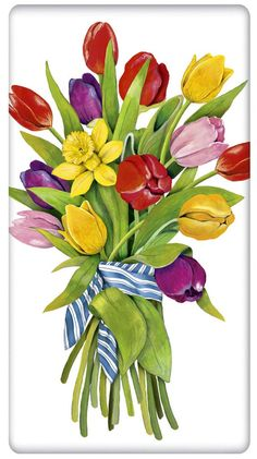 Spring Tulip Bouquet 100% Cotton Flour Sack Dish Towel Tea Towel