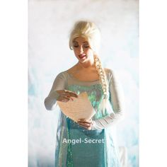 J789 Movies Frozen Snow Queen Elsa Cosplay Costume iridescent dress tailor cape