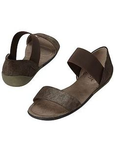 Milawkie Sandals by Off The Beaten Track® - The two-strap metallic sandals from Off The Beaten Track® that have a flexible outsole and comfortable elastic strap at the ankle.