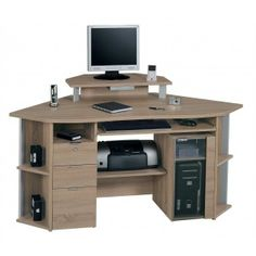 CS450 Sawn Oak Corner Desk by Jahnke. Excl. Vat: £282.50 Incl. Vat: £339.00 The CS 450 E is a smart, elegant and modern looking corner workstation. It features ample storage space with three lockable drawers and a tinted glass door that can house your CPU. There is a large worktop area and a monitor shelf and this corner desk also includes two pull out shelves one for your mouse and keyboard and the second for your printer