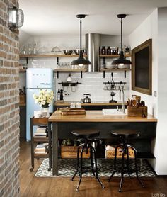 Small Industrial Kitchen Design Layout With Wood Island And Floating Shelves Featuring Exposed Brick Walls 5 Deadly Mistakes of Small Kitchen Design Homeowners Commonly Make, Small kitchen design plans, Small square kitchen design layout pictures New Kitchen, Kitchen Dining, Compact Kitchen, Kitchen Ideas, Kitchen Small, Loft Kitchen, Kitchen Black, Petite Kitchen, Kitchen Interior