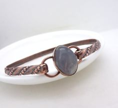 Solid copper bangle copper and moonstone by CreativityJewellery, $75.00