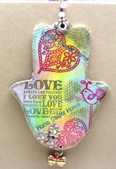 The Love Hamsa handmade of polymer clay home decor by artefyk, $32.00
