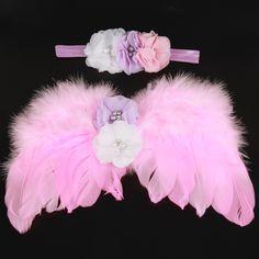 >> Click to Buy << Pink and white Newborn Angel Wings with Matching Headband Newborn Photographer Props Flower Girl Newborn Shower gift 1set HB636 #Affiliate