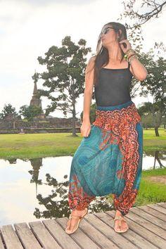Harem Pants – green boho chic pants women harem pants boho pants – a unique product by Boho-Geo on DaWanda