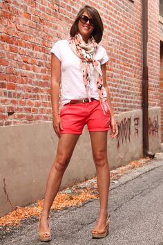 Ready to Repeat: Nothing like a white tee and colorful shorts plus an easy accessory like a scarf