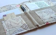 Love Letter Stationery Clutch, Organizer for Travel Documents- Linen In Touch Clutch (tm) in Letters in Paris, France and French Postcards via Etsy - downstairsDesigns