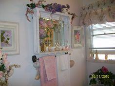 Painted bathroom mirror