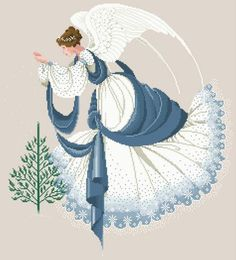 Lavender and Lace Ice Angel Counted Cross Stitch Pattern Charted Design Victorian Needlework Marilyn Levitt Imblum New In Package Stitch And Angel, Cross Stitch Angels, Cross Stitch Heart, Counted Cross Stitch Patterns, Cross Stitch Embroidery, Cross Stitch Kitchen, Cross Stitch Pictures, Chart Design, Christmas Angels