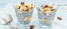 Van ontbijt tot toetje: van deze pudding met mango op basis van chiazaad en kokosmelk kun je op ieder moment van de dag genieten. A Food, Food And Drink, Chia Overnight Oats, Chia Pudding, Healthy Recipes, Healthy Food, Breakfast Recipes, Oatmeal, Low Carb