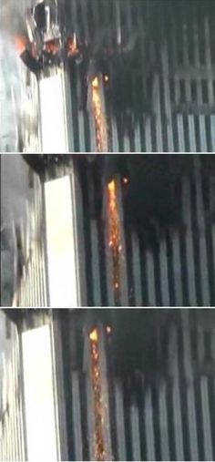 9/11 thermite spouts cutting steel columns.
