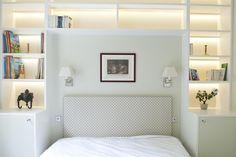 Awesome Contemporary Apartment in Modern Interior : White Bookcase Headboards Design Bedroom Furniture Design Bedroom Bookcase, Bedroom Built Ins, Small Master Bedroom, Headboard Shelves, Bedroom Storage, Wall Shelves, Bedroom Furniture Design, Bedroom Decor, Design Bedroom