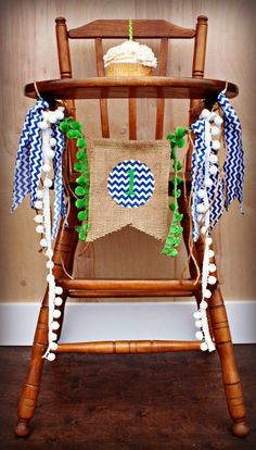 SEAHAWKS Birthday Age High Chair Highchair Birthday Banner/Party/Photo Prop/Bunting/Backdrop/Chair Banner/Blue and Green/Nautical/Football