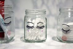 Add some little lashes to your jars so they can be as pretty as you are. | 16 DIYs That Will Make Your Vanity Totally Cute And Organized AF