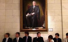 Photo by Chip Somodevilla // In the court, a portrait of Justice Oliver Wendell Holmes Jr., on whose writings Chief Justice John G. Roberts Jr. has drawn.