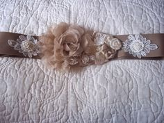 Lace and Grosgrain Bridal Sash  Country by BijouxBridalChicago, $125.00