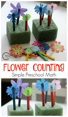 Flower Counting Activity for Toddlers and Preschoolers that you can make yourself- Teaching 2 and 3 year olds