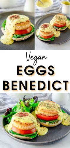 Easy Vegan Eggs Bennedict Recipe I how to make vegan eggs bennedict I tips for making vegan egg bennedict I egg-free egg bennedict recipe I vegan hollandaise sauce recipe I homemade vegan eggs bennedict I delicious recipes with tofu I tofu eggs bennedict recipe I vegan breakfast recipes I delicious vegan brunch recipes #eggsbennedict #veganrecipes Vegetarian Brunch Recipes, Make Ahead Brunch Recipes, Mexican Breakfast Recipes, Delicious Vegan Recipes, Healthy Breakfast Recipes, Lunch Recipes, Healthy Recipes, Vegan Food, Vegan Vegetarian
