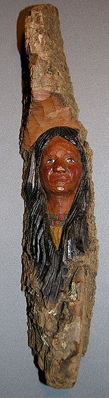 "Native American Indian Woman on 15"" bark $65.00"