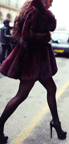 Fur coat with stockings and booties. Fun color!  #fur #winterfashion #hswardrobe