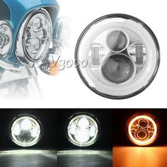 motorcycle parts: 7 Chrome Led Daymaker Projector Headlight Halo Ring For Harley Electra Glide BUY IT NOW ONLY: $66.85