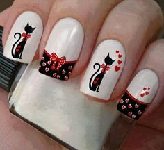 Animal Nail Designs, Animal Nail Art, Gel Nail Art Designs, French Manicure Nails, Cat Nails, Chic Nail Art, Valentine Nail Art, Disney Nails, Stamping Nail Art