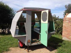 The strangest Vintage Pop-Up Caravan Trailer, Hand Made. Has canvas for the sides.  50s australian.