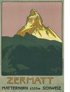 Vintage Swiss Travel Poster: The Matterhorn, Zermatt Poster Print, Poster Design, Book Design, Graphic Design, Print Ads, Design Art, Zermatt, Vintage Ski Posters, Retro Poster