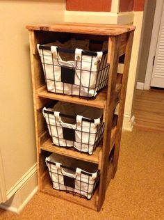 Small basket holder made from pallets.