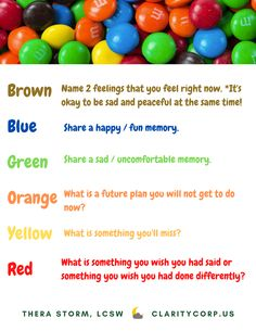 Here is an M&M activity for parents and children to help them talk about grief and loss that may be affecting their family. Grief Activities, List Of Activities, Grief Counseling, Grief Loss, Helping Children, Happy Fun, Fun Things, Clarity, Character Art