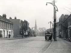 Manchester Road, Cubitt Town, Isle of Dogs. Looking North towards Christ Church. Circa 1954