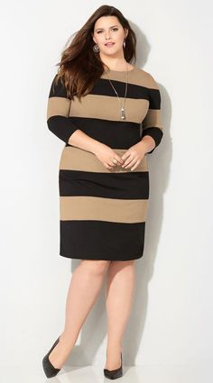 13d77901da13f Plus Size Taupe Stripe Sheath Dress  plussizedressessimple Plus Fashion