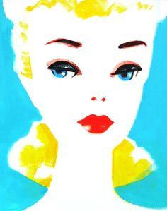 Barbie Painting, Pink Painting, Vintage Barbie Dolls, Pink Barbie, Barbie Bridal, Face Illustration, Barbie Friends, Vintage Pictures, Altered Art