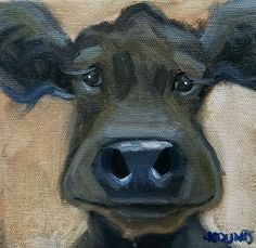 "KYLE BUCKLAND JENN COUNTS FARM ART  COW CATTLE   ANIMAL OIL PAINTING A DAY Impressionism FINE ART WALL ART COLLECTIBLE CUTE ANIMALS HOME RESTAURANT OFFICE CABIN DECOR  ""Silly Willy"" Oil on canvas 6""x6"""
