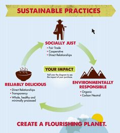 """Sustainable Practices Infographic that fits with Trade as One's approach of """"Live Simply, Give Generously, Buy Ethically"""""""