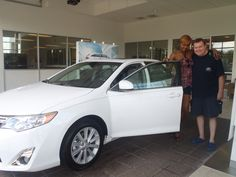 Congratulations to Geoff! Looking good next to your new #2013 #white #Camry -- Welcome to the #DavidMausToyota Family! #Toyota #WhateverItTakes #Sedan