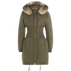 Roberto Cavalli Army-Style Parka (111,270 INR) ❤ liked on Polyvore featuring outerwear, coats, green, fur parka, brown fur coat, utility coat, brown coat and army green parka