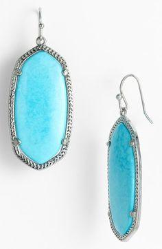 Kendra Scott 'Elle' Drop Earrings Turquoise/ Silver One Size by: Kendra Scott @Nordstrom