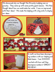 Golden Gang Kindergarten- can use part of this for preschool on bug week. Kindergarten Language Arts, Kindergarten Rocks, Kindergarten Reading, Lady Bug, Grouchy Ladybug, Daycare Themes, Insect Crafts, Author Studies, Eric Carle
