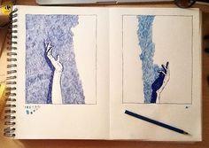 hands, color pencils and gel pen, work in progress
