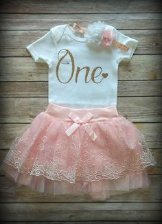 1st Birthday Girl Outfit, CUSTOMIZE, First birthday outfit, Pink, Gold, Girls birthday outfit, Cake smash, photo prop Princess Tutu by GraceCreationz on Etsy https://www.etsy.com/listing/510359573/1st-birthday-girl-outfit-customize-first