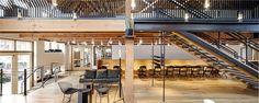 Mezzanine, open stair, steel structure Open Stairs, Adaptive Reuse, Metal Buildings, Steel Structure, Construction, Bread, Architecture, Design, Mezzanine